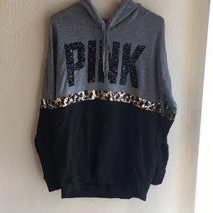 Pink sequined hoodie